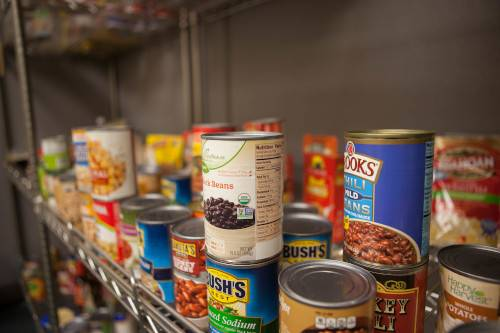 A shelf of food in the Replenish food pantry.